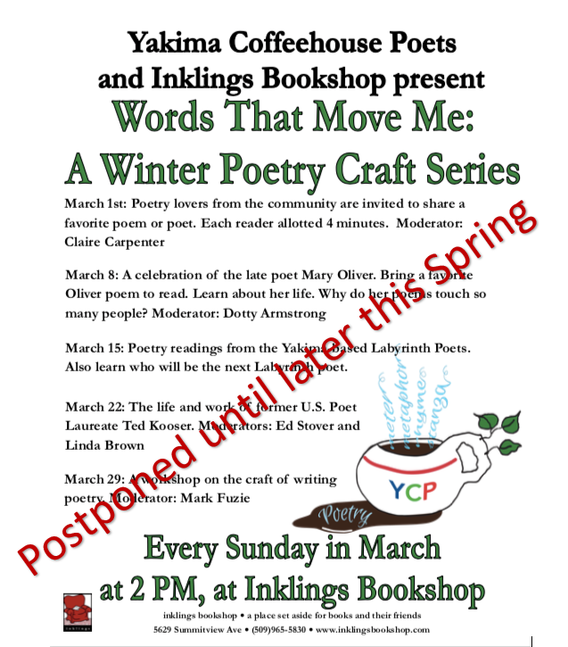 """Words That Move Me"" Craft Series has been postponed."